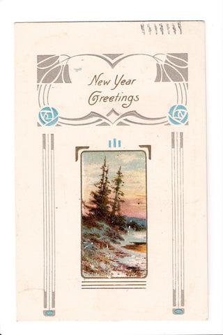 New Year - Greetings - Winsch Back postcard - C08650