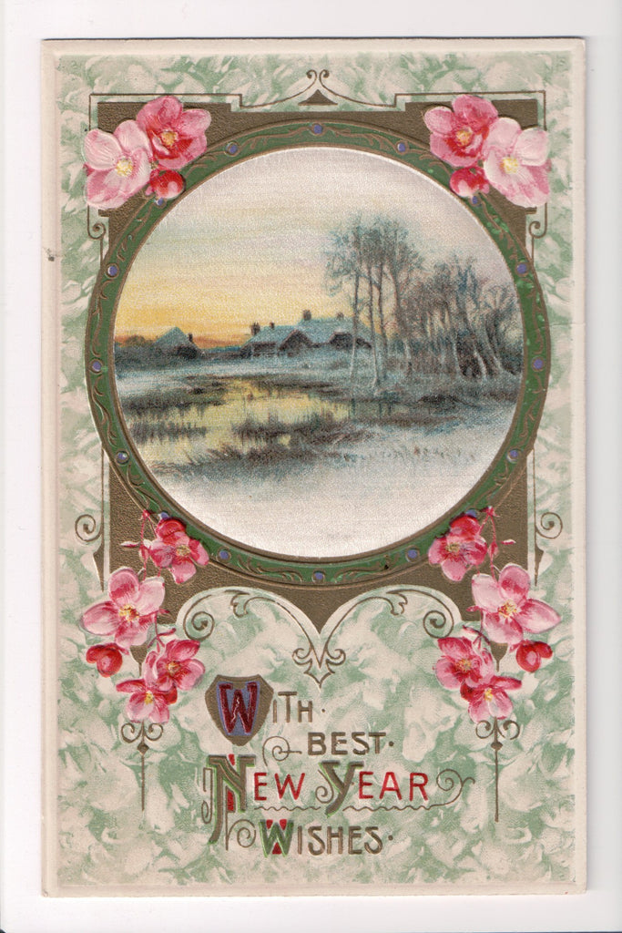 New Year - With Best New Year Wishes - silk? insert - Winsch back - C08654