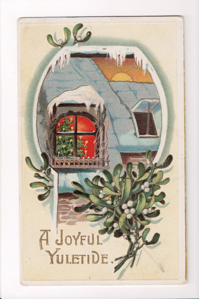 New Year - A Joyful Yuletide - Winsch back postcard - C08657