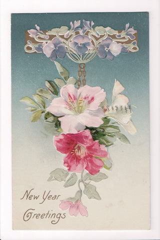 New Year - Greetings, pink and purple flowers - Winsch back - C08658