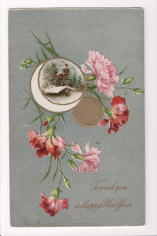 New Year - Pink Carnations, moon - Winsch back - C08660