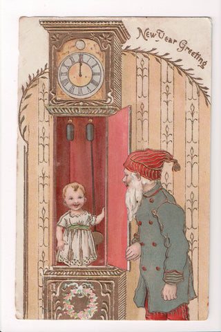 New Year - Greeting - showing a small child in grandfather clock - C08674