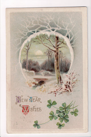 New Year - Wishes - Winsch back, Girl and mailbox - C08679