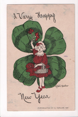 New Year - girl, large 4 leaf clover - Grace Harlow signed - G03001