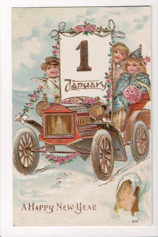 New Year - January 1 sign - kids in old spoked wheeled car - T00240
