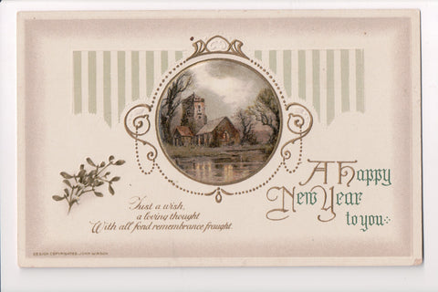 New Year - A Happy New Year - John Winsch postcard - sw0276