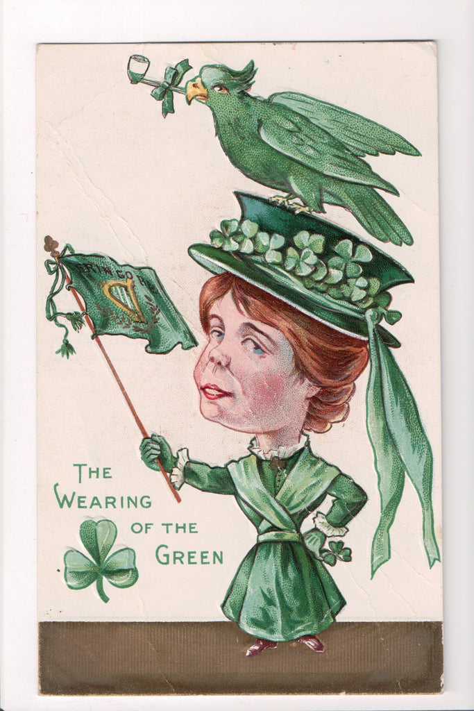 St Patrick - The Wearing of the Green - Lady, parrot, pipe, flag - A06700