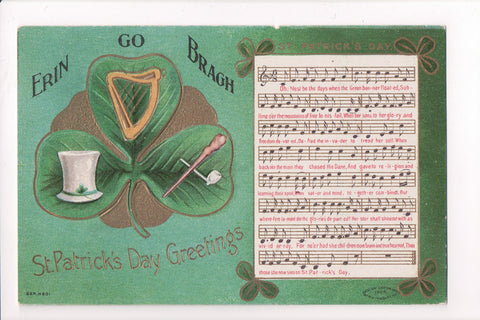 St Patrick - Erin Go Bragh - Greetings - Musical score and words - A06714