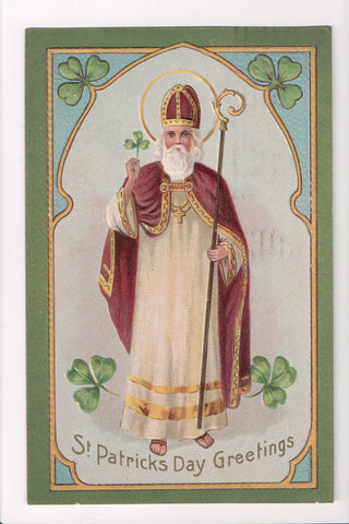 St Patrick - St Patricks Day Greeting - Holy man with Scepter - SL2055
