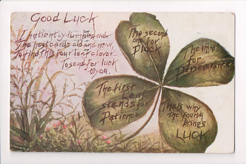 St Patrick - Good Luck - Large 4 leaf clover with meaning - w00166
