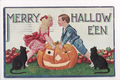 Halloween - Merry Hallowe'en - cats, pumpkin, kids (ONLY Digital Copy Avail) - B08241