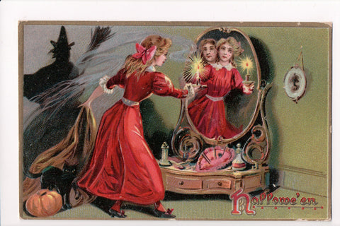 Halloween - Hallowe'en postcard - girl in red dress, mirror, witch - E10327