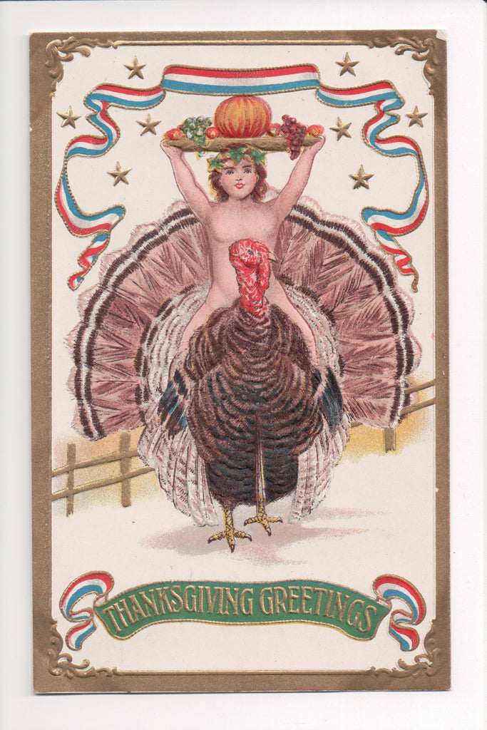 Thanksgiving - Greetings postcard - naked boy riding Tom Turkey - 606320