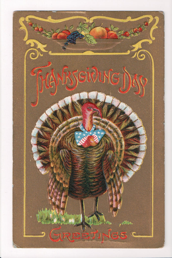 Thanksgiving - Day Greetings postcard - Patriotic tie on turkey - A06662