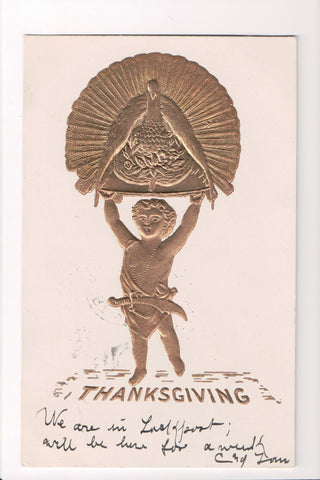 Thanksgiving - Golden embellishment - boy with turkey above - A06663
