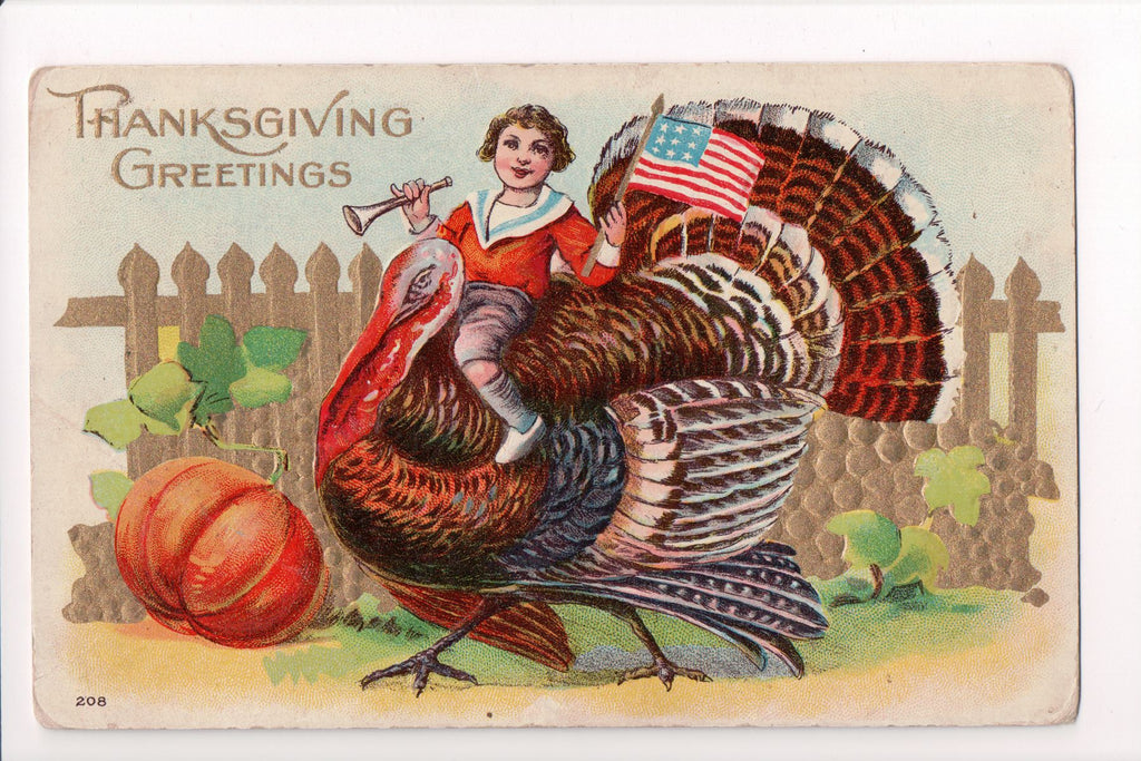 Thanksgiving - Greetings postcard - boy on turkey, US flag - A06679