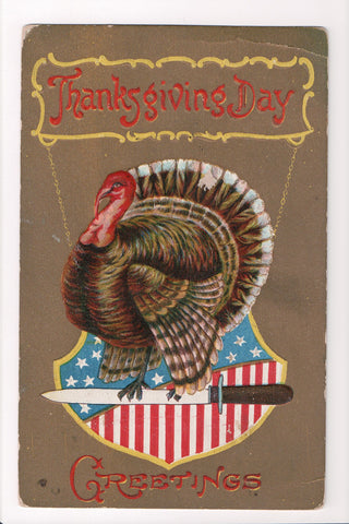 Thanksgiving - Greetings postcard - turkey on knife, patriotic - A06688