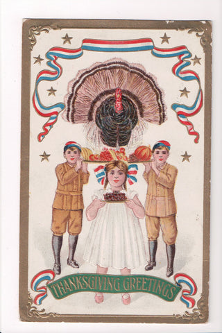 Thanksgiving - Greetings - Patriotic ribbons, kids, turkey - A06699