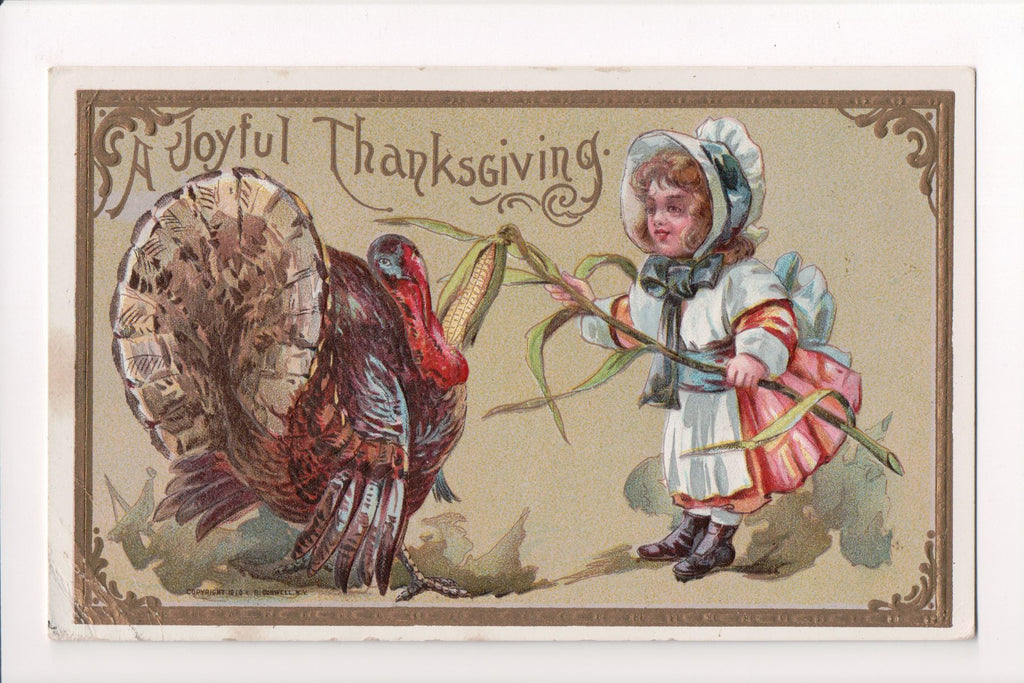 Thanksgiving - Joyful Thanksgiving postcard, girl with turkey - B06344
