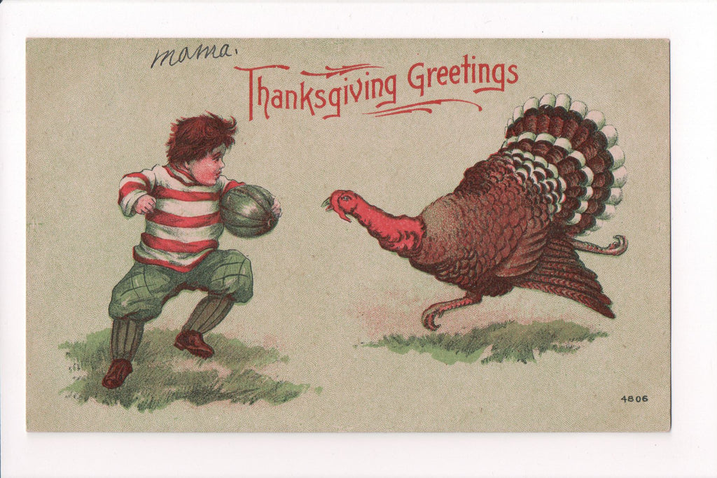 Thanksgiving - Greetings postcard - tom turkey charging boy - B06434