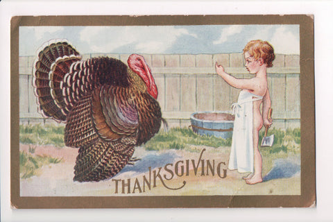 Thanksgiving - Bare butted boy, apron, tempting turkey, axe - B06678