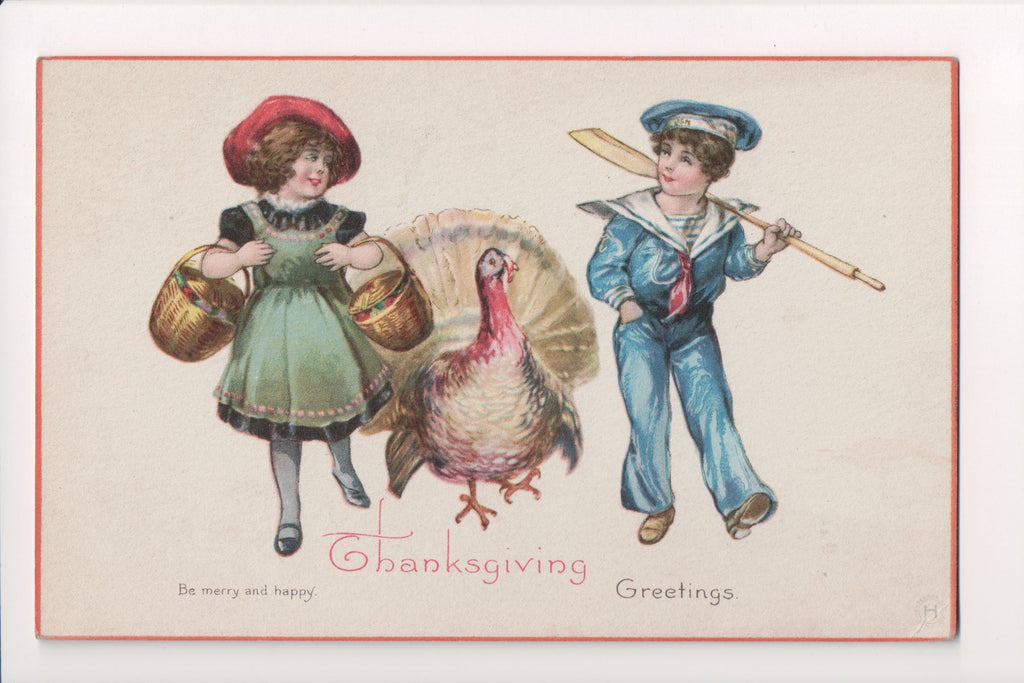 Thanksgiving - Greetings postcard - girl, sailor boy, oar, turkey - C06415