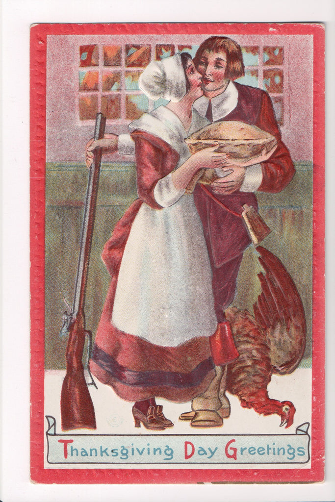 Thanksgiving - Greetings postcard - man, lady, pie, rifle, turkey - D04148