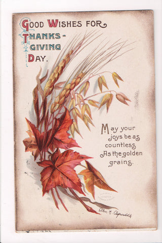 Thanksgiving - Good Wishes for - Ellen H Clapsaddle signed - D06227 **Damaged / AS IS**