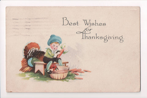 Thanksgiving - Best Wishes - boy shucking corn - E03096
