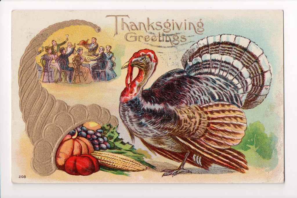 Thanksgiving - Greetings postcard - horn of plenty, people toasting - E10315