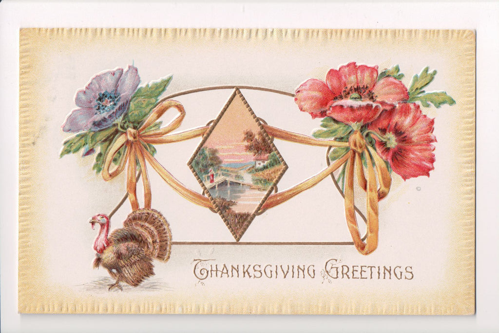 Thanksgiving - Cordial Greetings - turkey, popies postcard - E10468