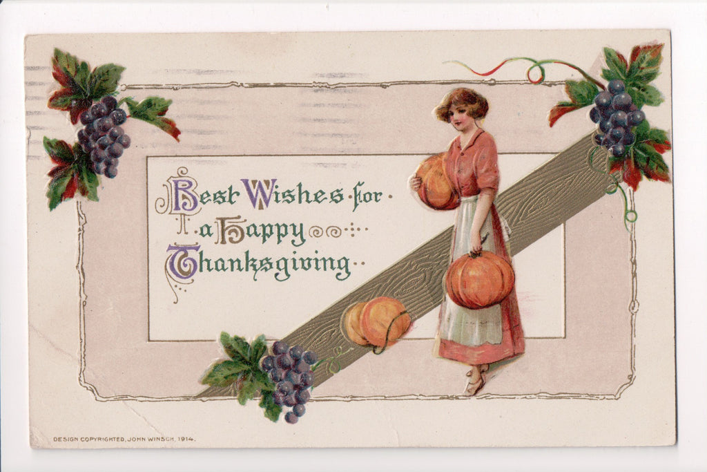 Thanksgiving - Best Wishes, lady, pumpkins, grapes - Winsch - S01222