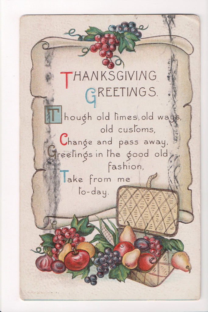 Thanksgiving - Greetings, picnic basket, fruit, scroll postcard - SL2008