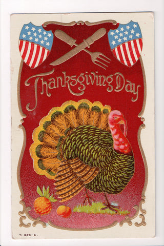 Thanksgiving - Day postcard - patriotic shields, turkeys, silverware - T00236