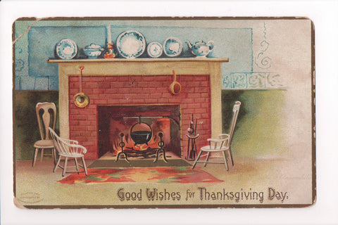 Thanksgiving - Good Wishes - fireplace, delph ware, chairs - w02210
