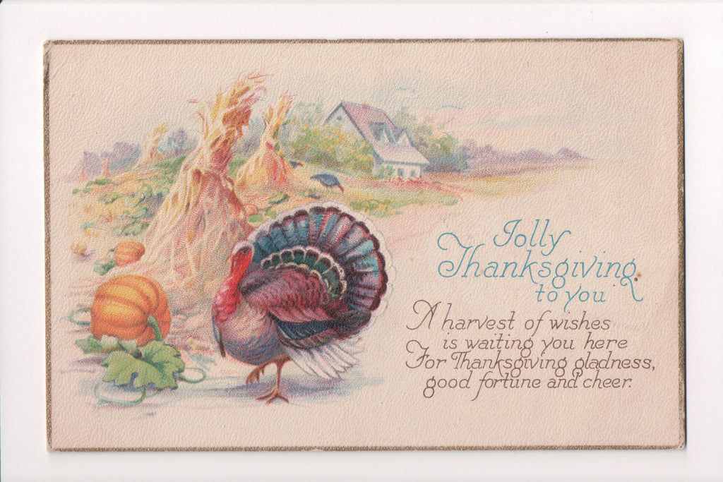 Thanksgiving - Jolly Thanksgiving to You - gold border - w04599