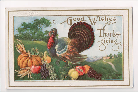 Thanksgiving - Good Wishes for postcard - fruit, turkey - w04690