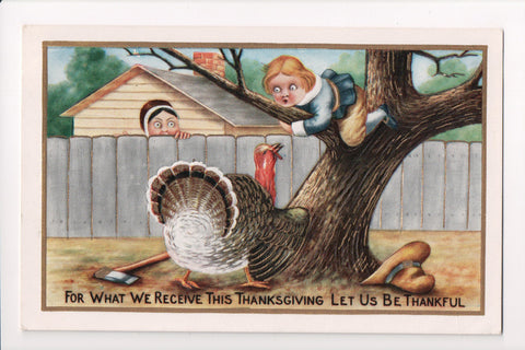 Thanksgiving - Boy chased up tree by turkey, gold embellishments - w04730