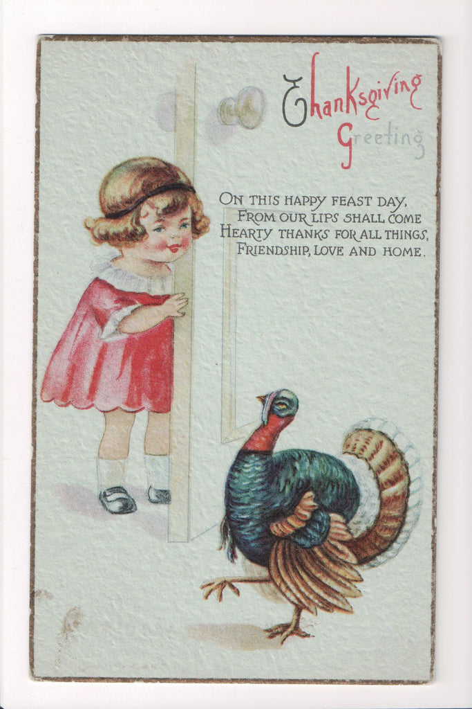Thanksgiving - Greetings postcard - cute girl at door, turkey - w05062