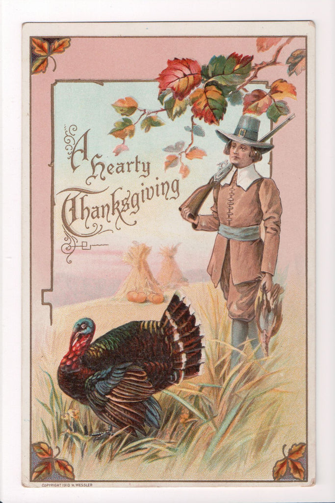 Thanksgiving - Hearty Thanksgiving - pilgrim, rifle, turkey - w05072