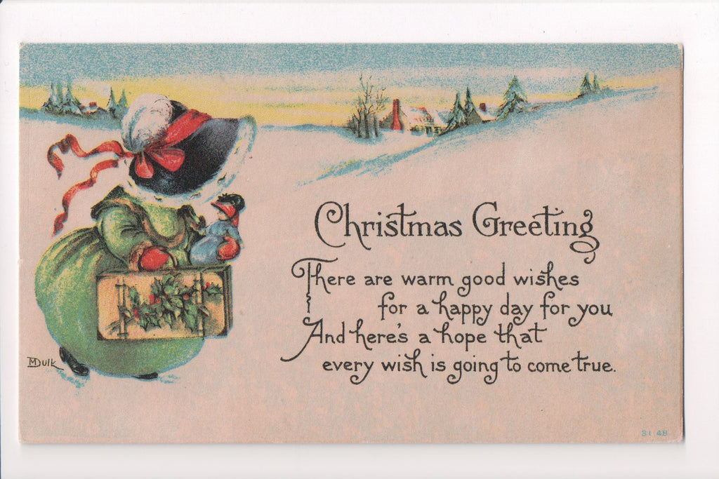 Xmas - Christmas Greeting - M Dulk signed postcard - B05176