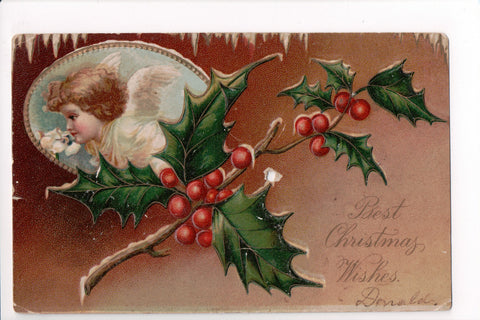 Xmas - Best Christmas Wishes - little angel, wings inset - B06656