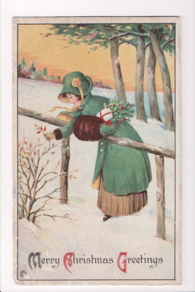 Xmas - Merry Christmas Greetings - woman, fur muff etc - B10150