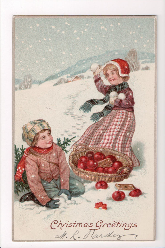 Xmas - Christmas Greetings - kids, snowballs, apple basket - C06736