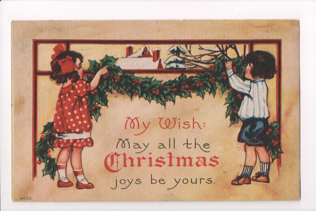 Xmas - Christmas Joys be yours - kids hanging evergreens - C08590