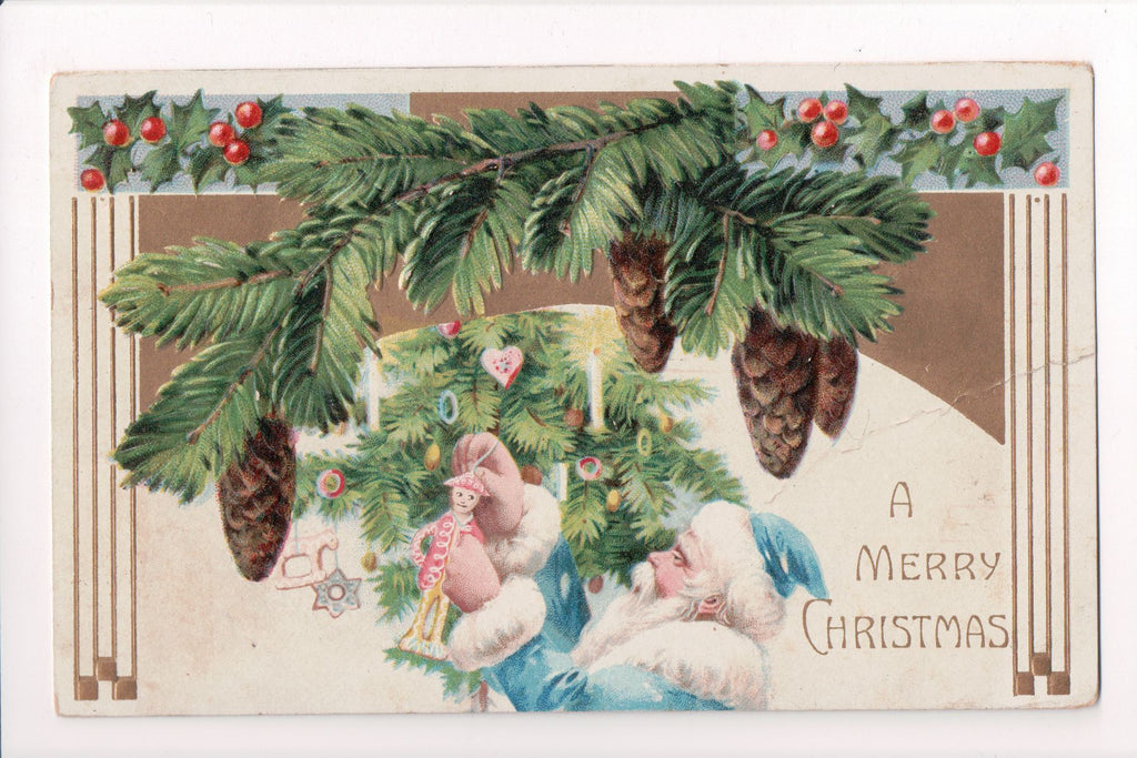 Xmas - A Merry Christmas - Santa in Blue, White suit postcard - C08621