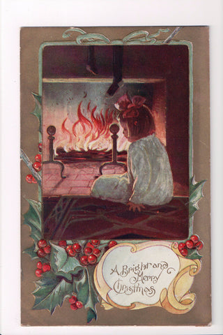 Xmas - A Bright and Merry Christmas, girl by fireplace - C08623