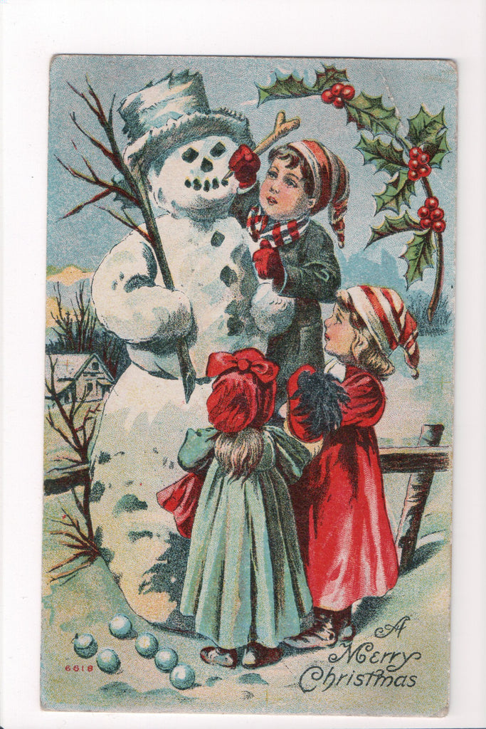 Xmas - A Merry Christmas - kids building snowman - C08626