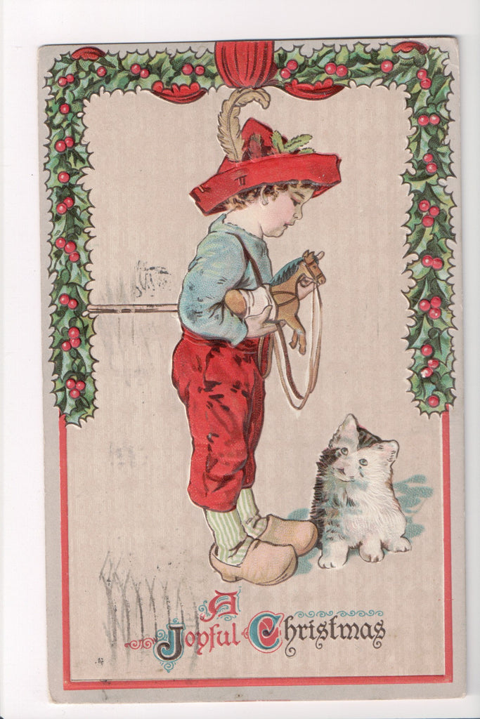 Xmas - A Joyful Christmas - Boy in red hat, wood shoes, cat - C08627