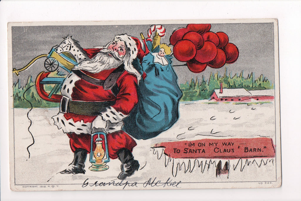 Xmas - Christmas Santa with lantern, red balloons, toys walking - C08633